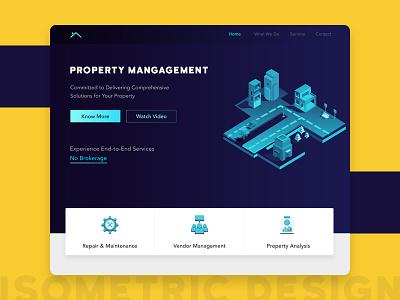 Property Management Banner banner homepage isometric illustrations website property management