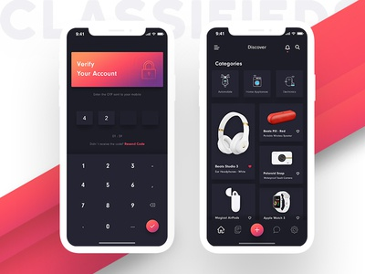 Classifieds App home screen landing screen multi color gradient categories otp dark theme ui classifieds app iphone x