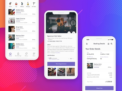 Salon App services gradients colors details booking landing ui salon app app iphone x