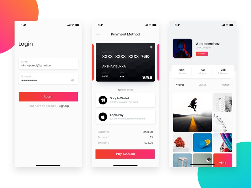 Dribbble Shot card minimal gradients login profile payment method payment iphone 10 ui ui  ux design