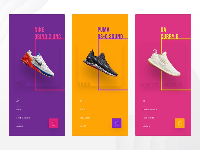 Modern Shoe Store under armour puma nike brands shoes product minimal ux ui concept ios app design iphone 10 color ecommerce app ecommerce