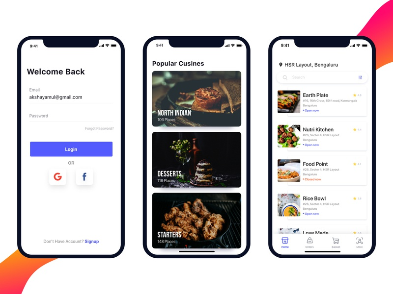 Food App Concept minimal app list concept app iphone x ui categories login design