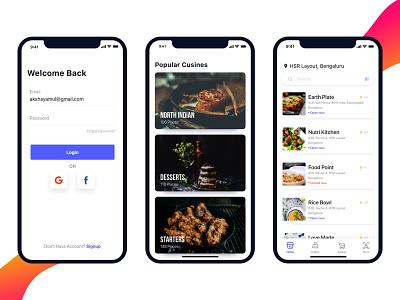 Food App Concept minimal app list concept app iphone x ui categories login design