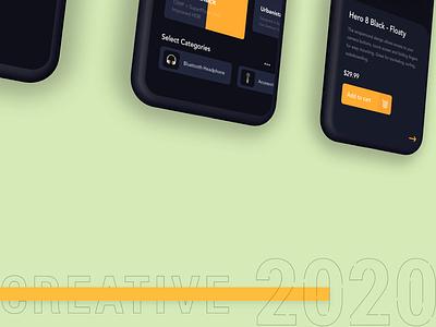 Creative 2020 2020 trend decade newyear 2020 dark theme hero8 app design minimal iphonex iphone 10 concept color product iphone x app ui