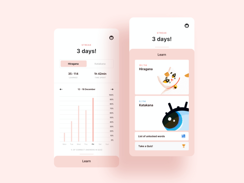 Kana - japanese syllabary learning app kana katakana hiragana cat pastel cute language learning language japanese japan illustration pink minimal mobile app ui
