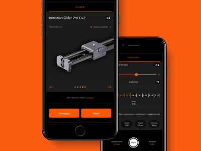 Inmotion Pro iOS app mobile app ui timelapse slider photo orange ios inmotion camera