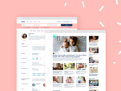 Juno baby - connecting expecting parents and professionals family kids pink ui ux web pregnant pregnancy midwife doula mother baby