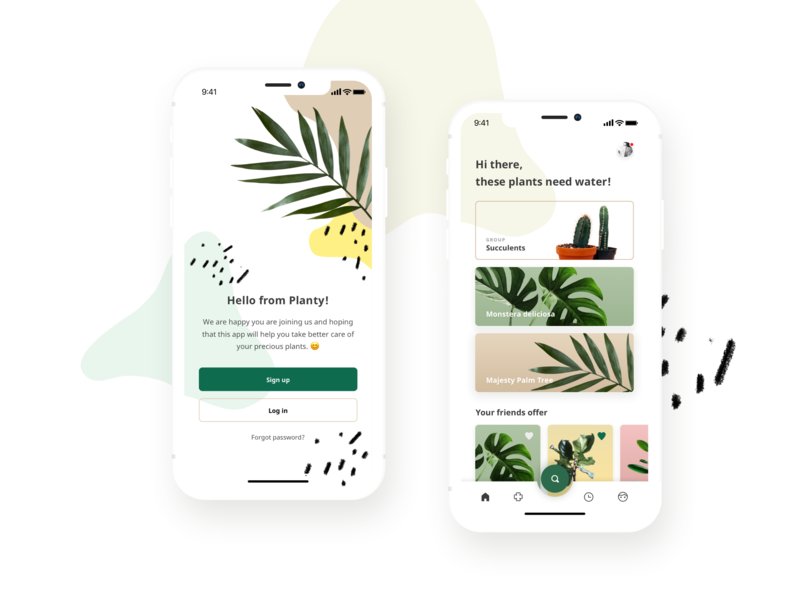 Planty - an urban jungle application for green thumbs garden pastel mobile plants collage app ux ui