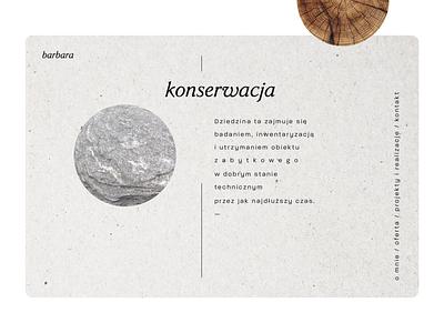 art conservator, a personal branding - minimal earthy neutral japanese stone wood art conservation natural branding web ui