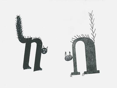 Spooky cats printing press typo typography art illustration spooky halloween cat