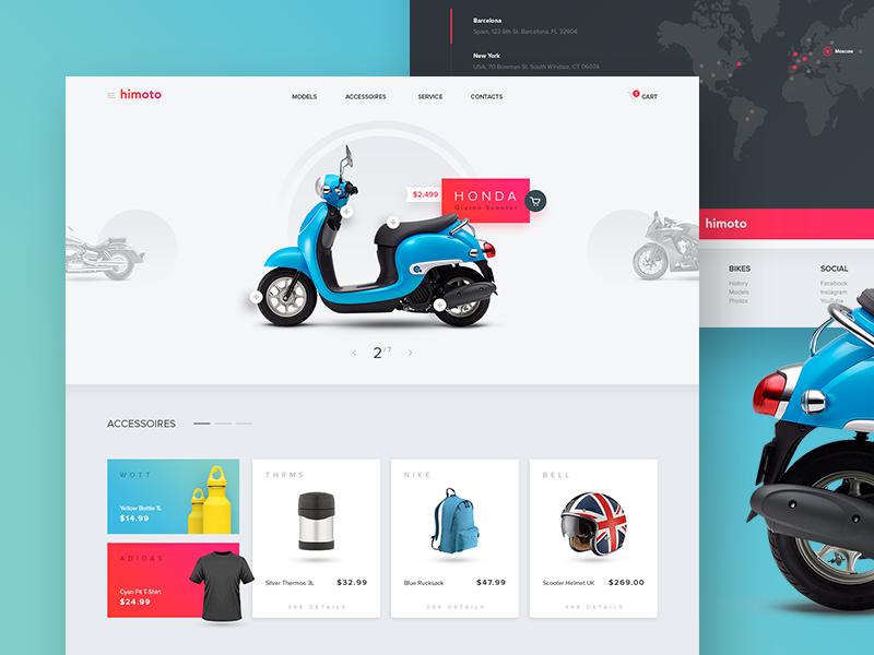 Motorcycle Online Store UI ui promo site online web shop store moto