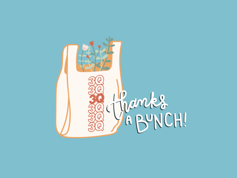 Thanks a bunch! thankyou lettering sticker design design pun doodle illustration