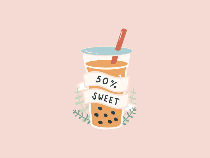 Half Sweet doodle design boba tea stickers illustration