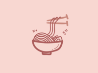 Knitting Noodles icon knitting ramen noodles line art sticker design doodle illustration