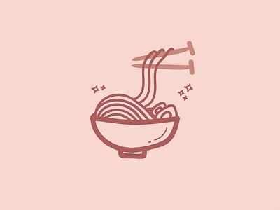 Knitting Noodles icon knitting ramen noodles line art sticker design doodle illustration