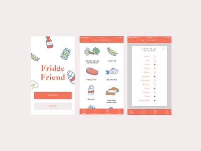 Fridge Friend sketch uiux mobile mockup illustration ios app