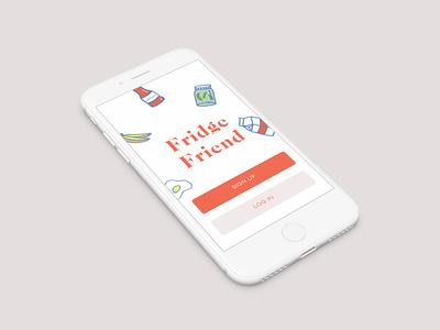 Fridge Friend Landing Page recipe app ios mobile uiux illustration