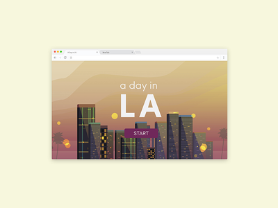 A Day in LA flat design interactive website illustration