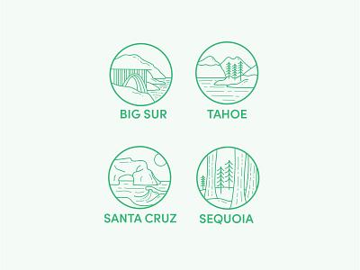 California I icons flat design line art signage illustration