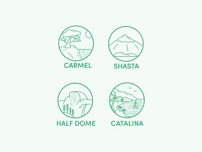 California II icons flat design line art signage illustration