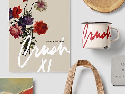 Crush Eleven v2 local-sourced wine hand type rustic restaurant branding