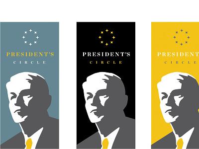 President's Circle badge bust president higher ed college logo illustration