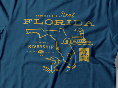 St. Johns Rivership Souvenir tshirt tshirt florida ship logo st. johns paddlewheeler