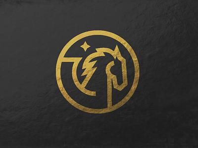 Pegasus ucf gold line art icon pegasus