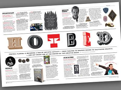 Local Art Hotbed spread - Pegasus Magazine type spread ucf magazine