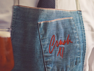 Crush XI Aprons embroiderd brand craft bar logo livery