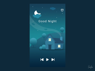 Kids goodnight lullaby app UI concept design.