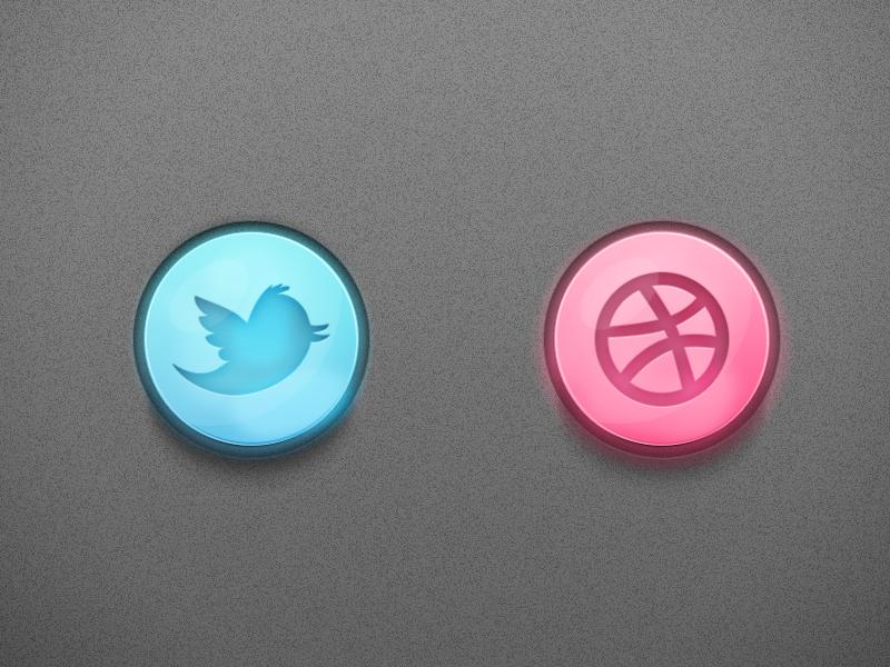 Social Buttons (Freebie)  twitter dribbble social buttons glossy freebie psd