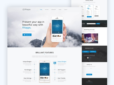 Free RxApps App Landing PSD Template website themeforest theme one-page onepage page html template landing app