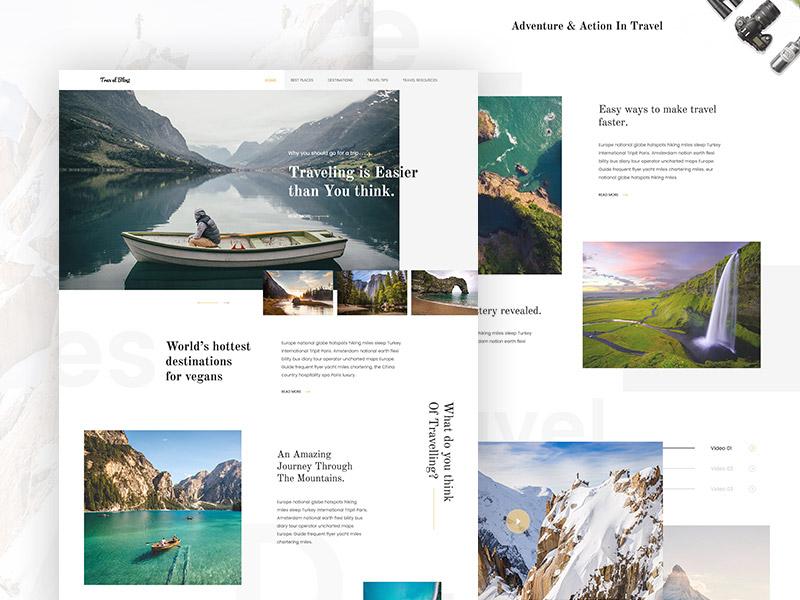 Travelblog landing page design button design flight menu navigation site travel texture typography web blog travelblog
