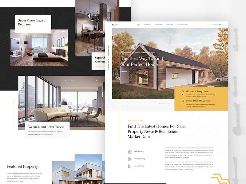 Real Estate Landing Page design architecture property webdesign debut website simple modern clean hero creative estate real