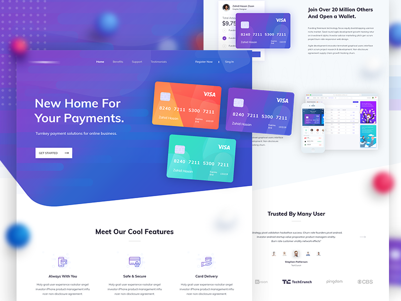 Credit card - Landing Page Design by Zahid Hasan Zisan on