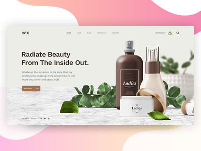 Cosmetic Header Style V1 gradient webdesign subscribe screen split social hotel booking flight fruits colors capture