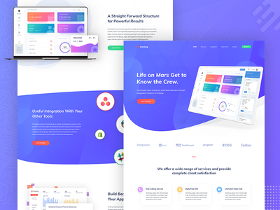 SaaS Software Landing Page V1 web application trend startup saas landing page saas marketing illustration creative corporate business agency