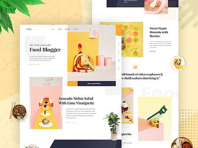 Foodblog - Landing Page Design v1 dashboard minimal landing page eat cooking chef foodblog restaurant menu food concept clean