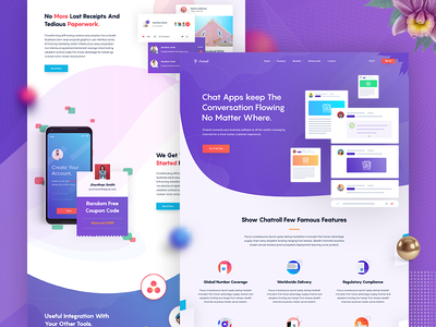 Chat - Landing Page Design hero section store user interface responsive wireframe graph progress statistics conference color scheme chat digital call