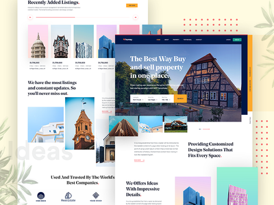 Real Estate Landing Page design #3 management colorful architecture properties webdesign debut website simple modern clean hero creative experience property real estate