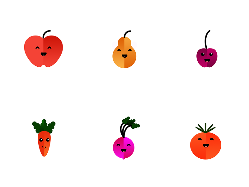 Little fruits and  vegetables vegetables icon icons shape gradient happy fun sweet fruit