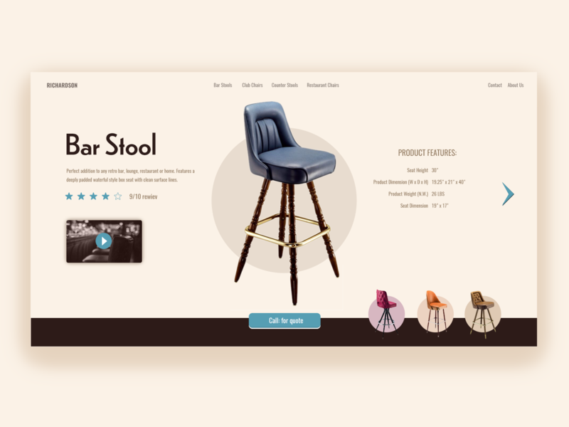 Product Page  Bar Stool bar stool blue style retro chair ecommerce product page