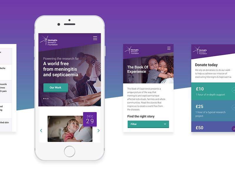 Meningitis Research Foundation x Delete mobile charity gradient branding layout ux ui digital website