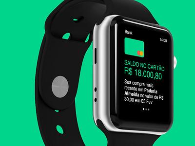Bank on Apple Watch watch app flat apple watch ux ui interface debut brading app