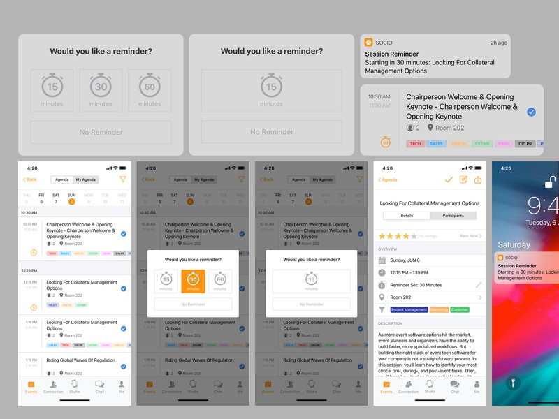 Session Reminder Feature Design for Event Apps ux design redesign product agenda reminder session socio