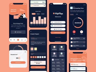 Productivity Time Tracker App - Freelance Work page ux screen application ui product interface design tracker app productivity tracker time