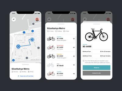 Bicycle - Bike Rental App page ux screen application ui product interface design bicycle app rent rental riding bike bicycle