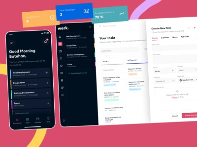 Werk. - All in one team management tool screen application ui product interface remote message chat tracking task management team all in one design