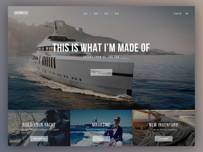Luxury Yacht Hero interface design concept neue bebas boat yacht luxury